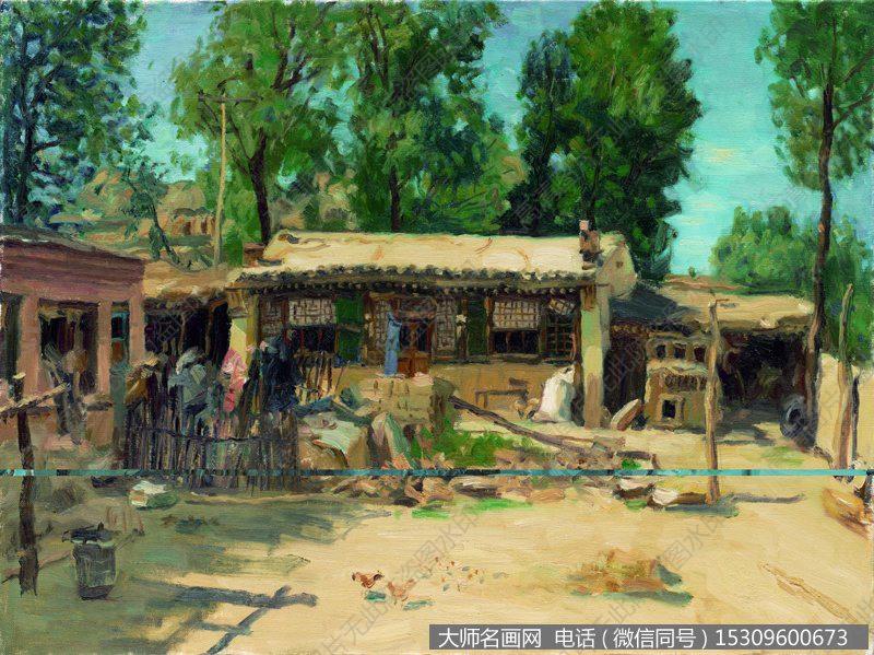 杨飞云风景油画作品5 乡下小院 高清图片下载
