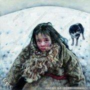 艾轩人物油画作品15 小女孩和狗 高清图片下载