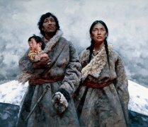 艾轩人物油画作品17 圣山(一家三口) 高清图片下载