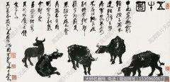 李可染国画作品18 五牛图 高清图片下载
