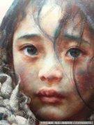 艾轩人物油画作品22 西藏小女孩 局部 高清图片下载