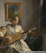 维米尔-玩吉他的少女28 高清图片下载