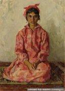 靳尚谊人物油画作品28 穿花裙子的维族女孩 高清图片下载