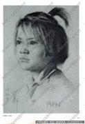 艾轩素描《小女孩头像》高清大图下载