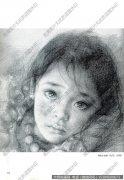 艾轩素描《藏族小姑娘(局部)》高清大图下载